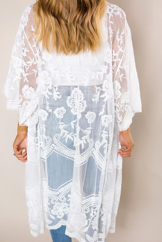 白色钩针编织蕾丝和服袖海滩度假开衫罩衫 LC85521