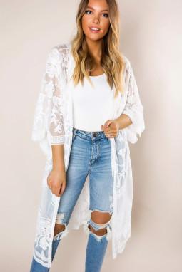 白色钩针编织蕾丝和服袖海滩度假开衫罩衫