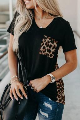 黑色V领短袖豹纹印花拼接宽松透气T恤 LC253578