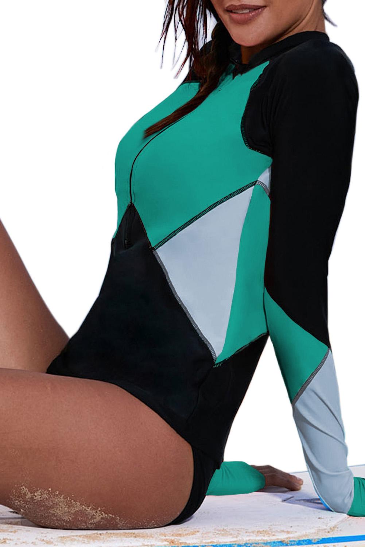 绿色拉链领口长袖色块拼接冲浪服上衣 LC410981
