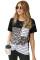 豹纹条纹拼接圆领短袖口袋时尚休闲T恤