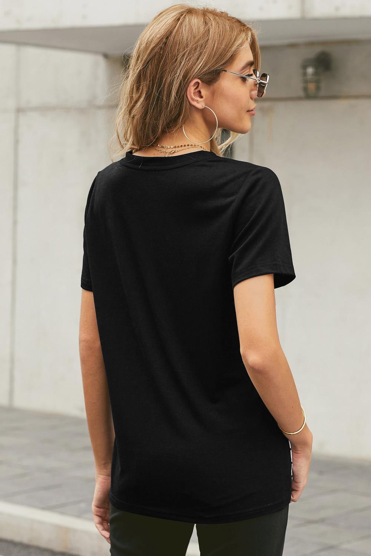迷彩条纹拼接圆领短袖口袋时尚休闲T恤 LC253394