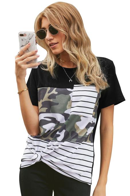 迷彩条纹拼接圆领短袖口袋时尚休闲T恤