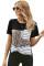 蛇纹条纹拼接圆领短袖口袋时尚休闲T恤