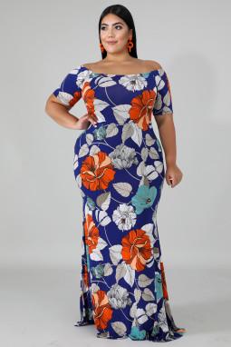 蓝色露肩短袖花卉印花大码时尚优雅长裙