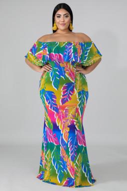优雅棕榈叶印花褶皱肩领美人鱼长裙礼服