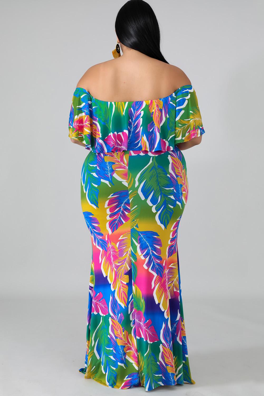 优雅棕榈叶印花褶皱肩领美人鱼长裙礼服 LC611703