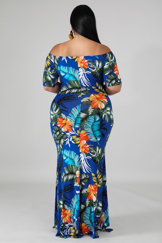绿色露肩短袖植物印花大码时尚优雅长裙 LC611698