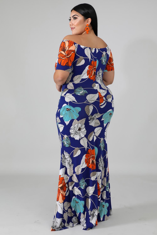 蓝色露肩短袖花卉印花大码时尚优雅长裙 LC611698