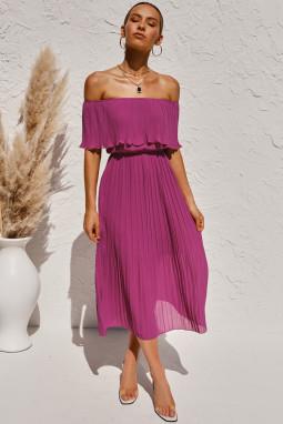 紫色优雅舒适露肩褶皱中长连衣裙