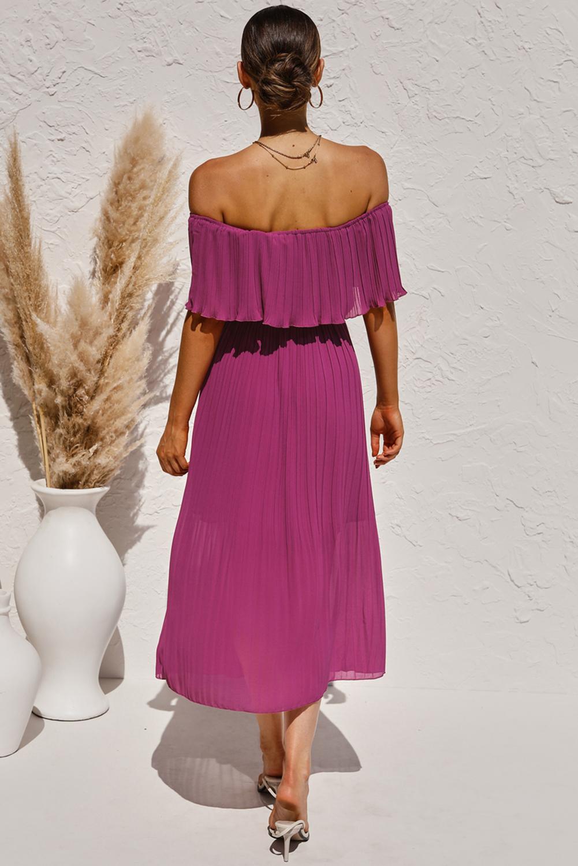 紫色优雅舒适露肩褶皱中长连衣裙 LC611725