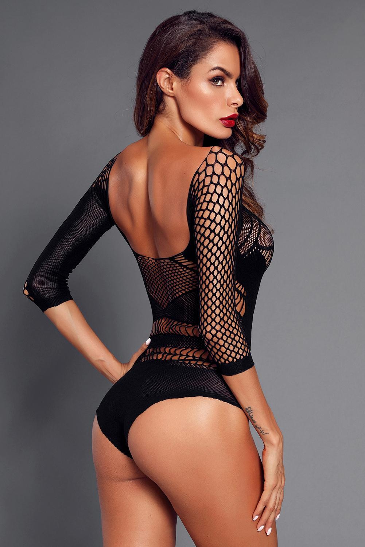 黑色冷肩3/4袖镂空网眼性感连体内衣 LC32547