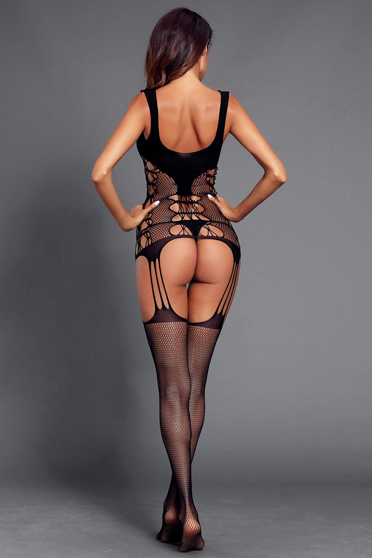 黑色透视网眼镂空吊袜带开裆连裤袜 LC790022