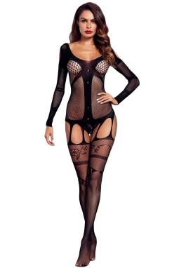 黑色长袖性感镂空鱼网透视吊袜带设计开档连体袜