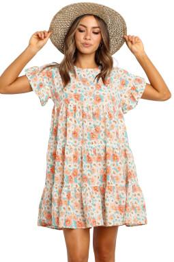 清新圆领荷叶边短袖宽松褶裥碎花迷你连衣裙