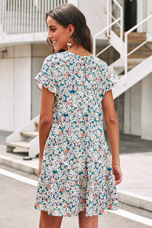 优雅圆领荷叶边短袖宽松褶裥碎花迷你连衣裙 LC221265