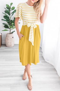 黄色圆领短袖条纹绑带设计口袋休闲中长裙