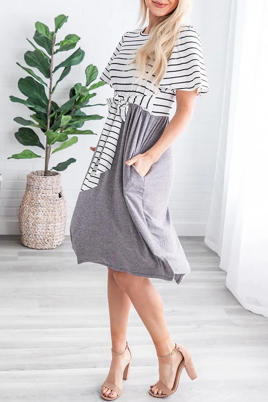 灰色圆领短袖条纹绑带设计口袋休闲中长裙 LC611733
