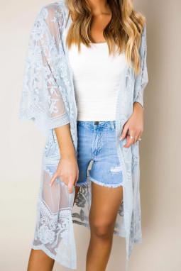 浅蓝色钩针编织蕾丝和服袖海滩度假开衫罩衫