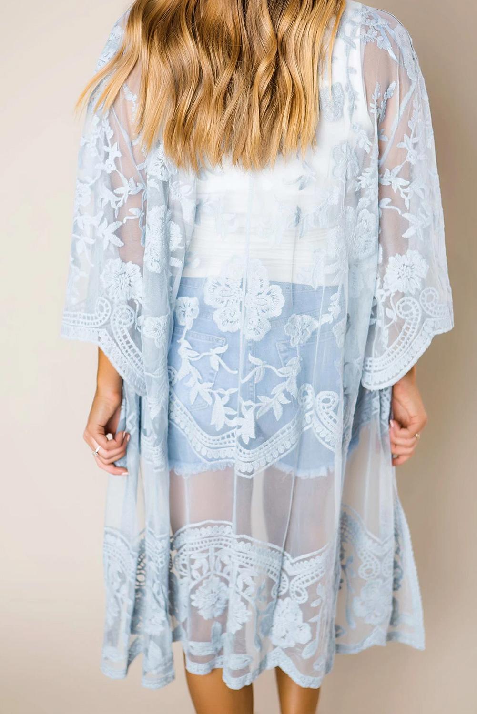浅蓝色钩针编织蕾丝和服袖海滩度假开衫罩衫 LC85521