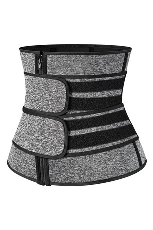 灰色腰部锻炼9钢骨拉链魔术贴氯丁橡胶塑身衣 LC51053
