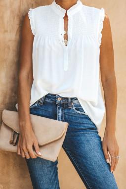 白色系扣领优雅细褶宽松舒适女式背心
