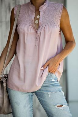 粉色系扣领优雅细褶宽松舒适女式背心