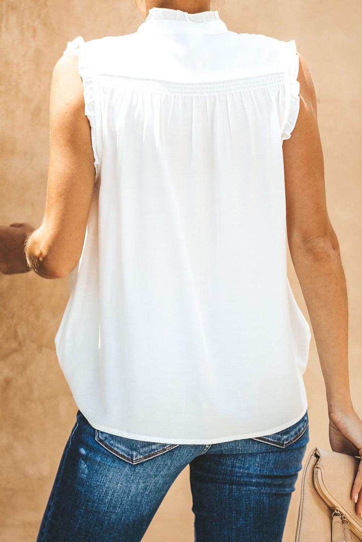 白色系扣领优雅细褶宽松舒适女式背心 LC253438