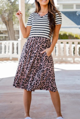V领短袖条纹拼接淡紫色豹纹飘逸连衣裙