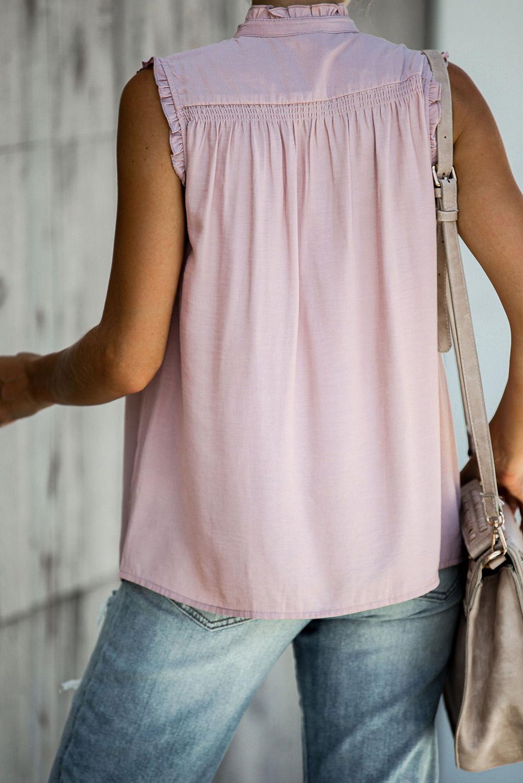 粉色系扣领优雅细褶宽松舒适女式背心 LC253438
