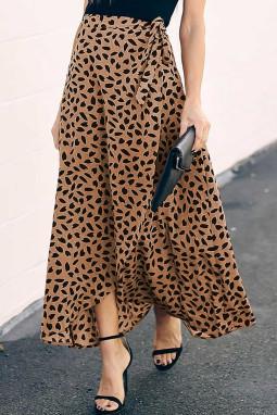 褐色时尚斑纹印花可爱时尚半身长裙
