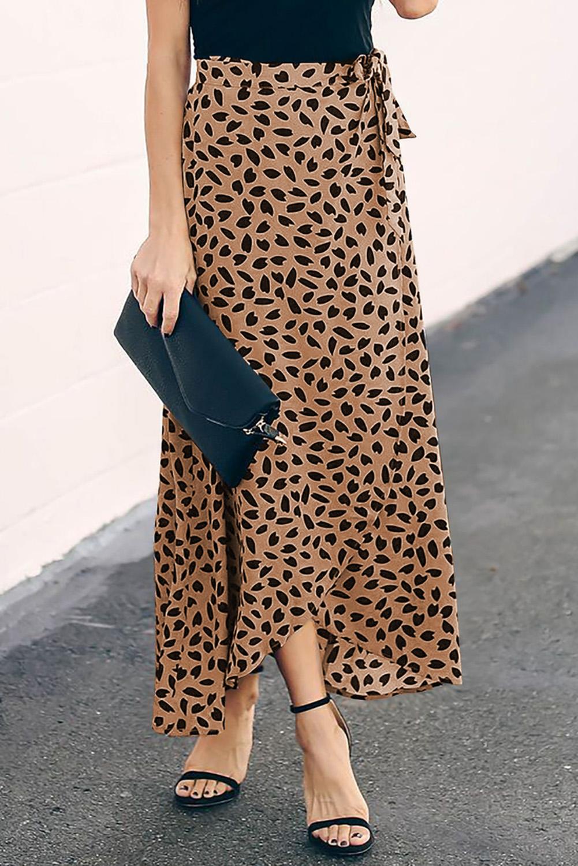 褐色时尚斑纹印花可爱时尚半身长裙 LC65272