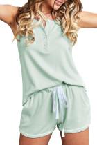 绿色领口排扣松紧抽绳无袖短裤家居服套装
