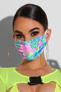 蓝粉时尚印花非医用成人口罩