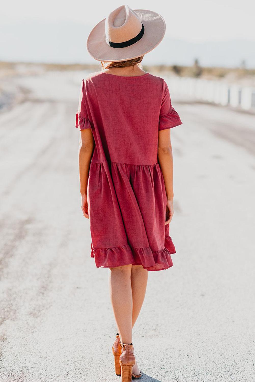 红色可爱荷叶边宽松飘逸迷你连衣裙 LC221294