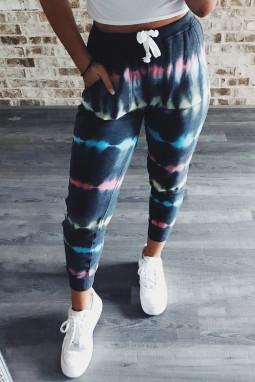 蓝色时尚扎染抽绳束腰休闲运动长裤