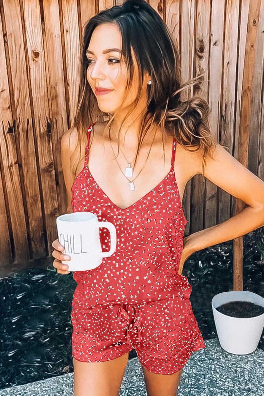 红色斑点吊带背心绑带短裤家居便服套装 LC45024