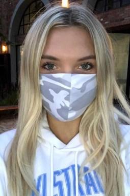 灰色迷彩印花非医用可水洗成人布口罩