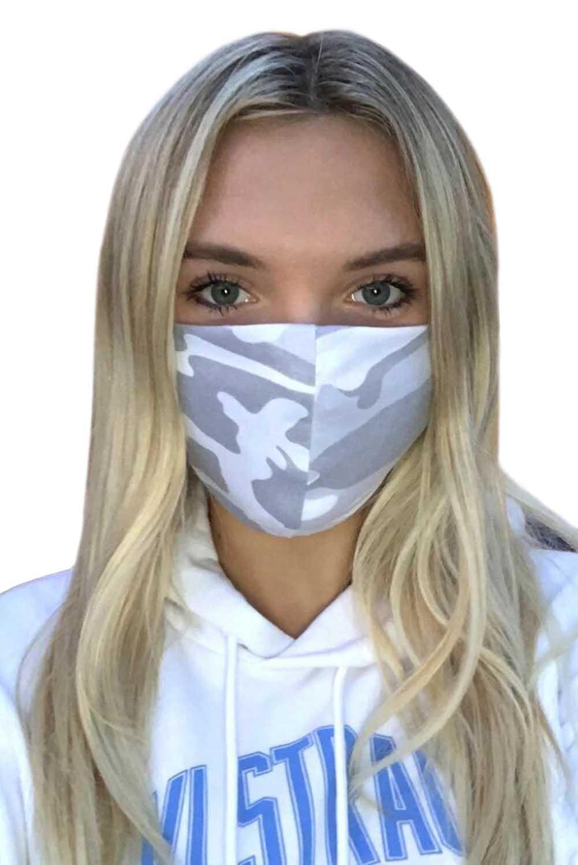 灰色迷彩印花非医用可水洗成人布口罩 KZ047