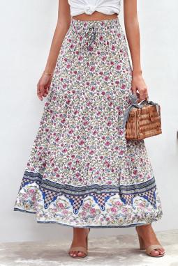 深蓝波西米亚印花弹力高腰褶裥碎花长裙