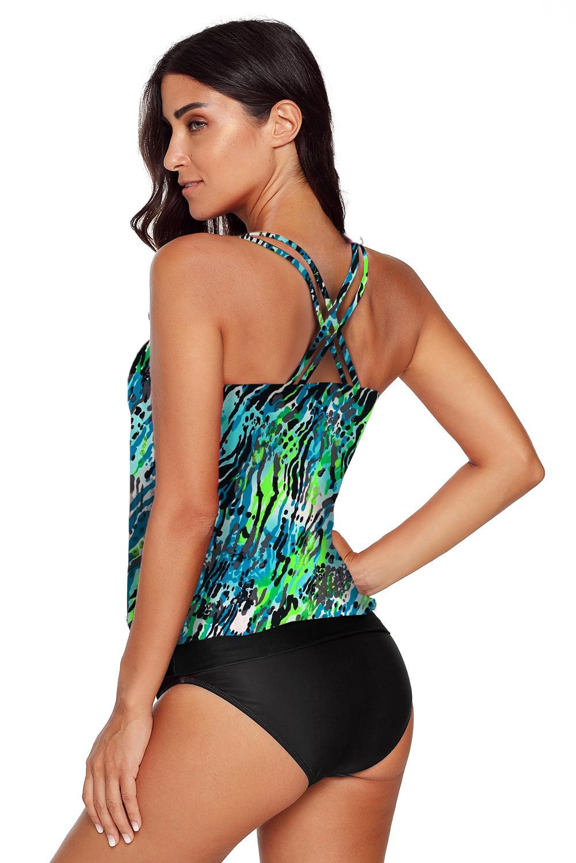 绿色度假印花交叉双肩带背心式两件套泳装 LC412066