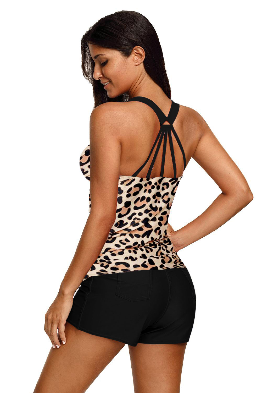 时尚豹纹后背系带保守游泳上衣 LC410458