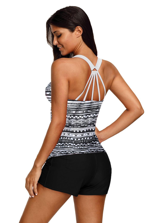黑色别致印花后背系带保守游泳上衣 LC410458