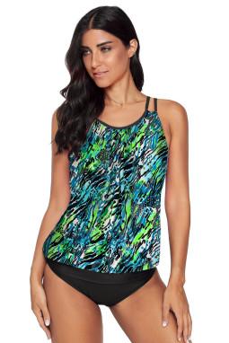 绿色度假印花交叉双肩带背心式两件套泳装