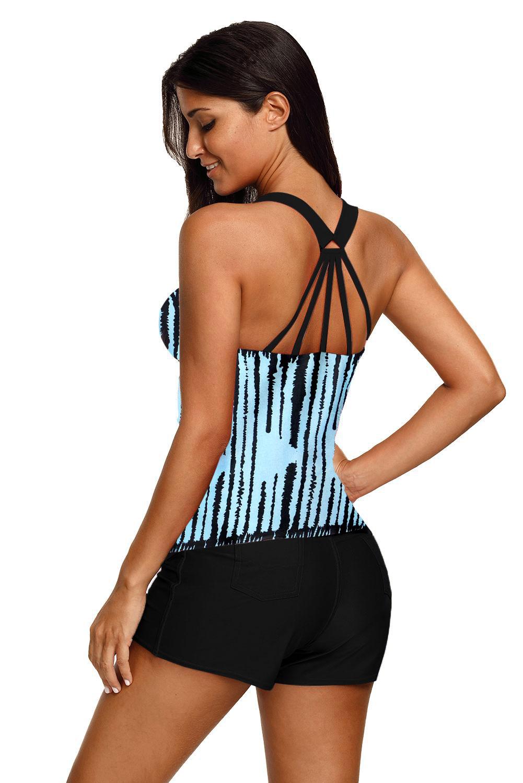 浅蓝色条纹后背系带保守游泳上衣 LC410458