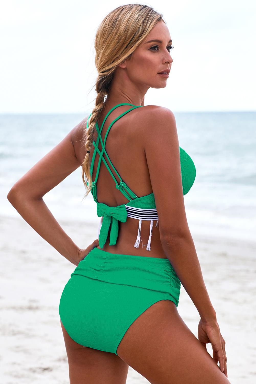 绿色双肩带流苏设计高腰褶皱比基尼 LC411907