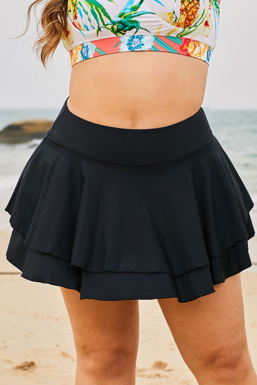 黑色荷叶边叠层沙滩度假大码单件泳裙 LC412131