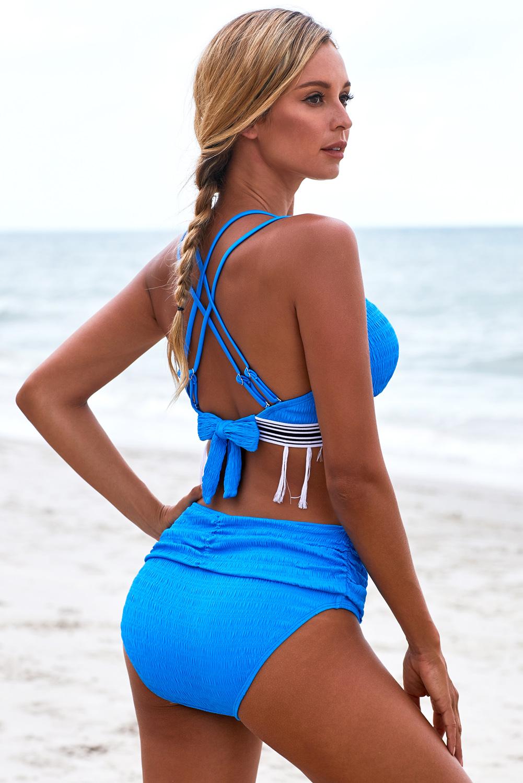 蓝色双肩带流苏设计高腰褶皱比基尼 LC411907