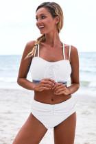 白色双肩带正面交叉绑带设计高腰褶皱比基尼