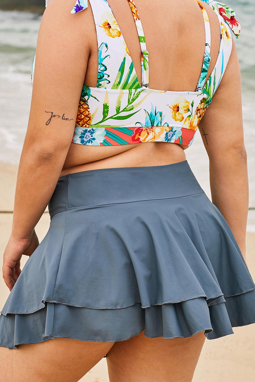 灰色荷叶边叠层沙滩度假大码单件泳裙 LC412131